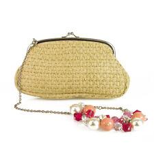 Rada Beige Braided Straw Kiss Lock Frame Beaded Wristlet Clutch Bag Handbag