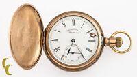 Gold Filled Waltham Antique Full Hunter Pocket Watch Gr J 6S 7 Jewel