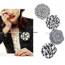 Pin brooch with Gift box Cele Designer Elegant Black White Tweed Camellia Flower