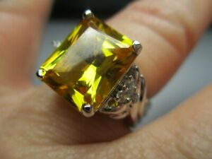 STERLING SILVER ROSS SIMONS YELLOW CUBIC ZIRCONIA W ACCENTS BAND RING SIZE 5.5