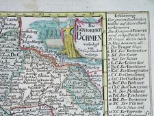 1749 RARE NICE ORIGINAL MAP BOHEMIA CZECH PRAGUE MORAVIA BRNO POLAND BUDWEIS