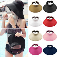 Women's Foldable Wide Brim Sun Visor Hat Roll Up Beach Travel Summer Straw Cap