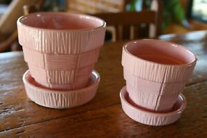 PAIR of McCoy Pottery Pink Planter Basket Weave Planters 5in. and 4 in. both Ex.