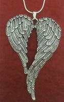 Angel Wings Necklace Silver Plated chain and large Charm Pendant wing guardian