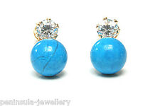 9ct Gold Turquoise and CZ Earrings Studs Made in UK Gift Boxed