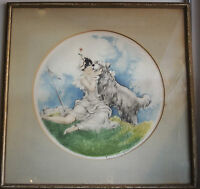 """FAMOUS LOUIS ICART PAINTING """"LADY WITH A DOG"""" LITHOGRAPH COPYRIGHTED SIGNED"""