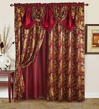 Burgundy Red Gold Beaded 5 pc Window Curtains Set Panels Drapes Valance 84 in L