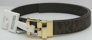 MICHAEL KORS 553756C Women's Medium Brown MK Logo Twist Reversible Belt NEW