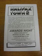 29/04/1986 Halifax Ciudad V Port Vale [programa fechado 21/02/1986 con cuatro página W