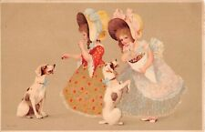 Pretty Little Girls Feeding Candy to Smooth Fox Terrier Dogs - Old German Pc