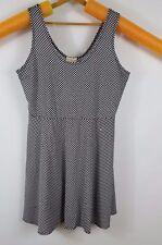 womens 2X black with white polka dots scoop neck sleeveless skater dress