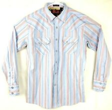 Donaldo Western Wear Large Mens Dress Shirt Country Rodeo Striped Pearl Snap EUC