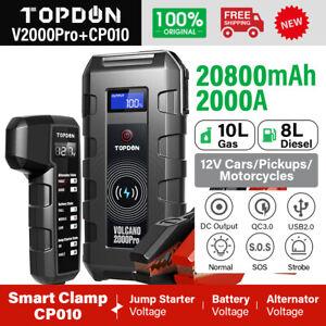 TOPDON V2000 PRO Car Jump Starter USB Battery Power Booster Road Rescue Pack 12V