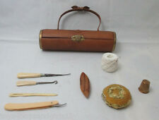 9pc Leather Purse ETUI ;Original ANTIQUE c1900m tape measure,Shuttle,hook & more