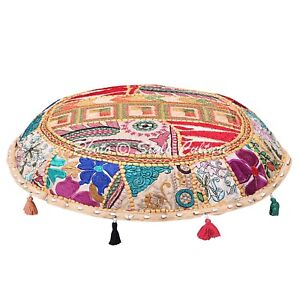 Indian Bohemian Floor Pillow Cover Vintage Patchwork Beige 22x22 Cotton Seat
