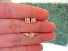 ".65 CF Illusion Diamond Earrings&Ring Set 18k Yellow Gold JS30 sep ""SJ"" PREORDER"