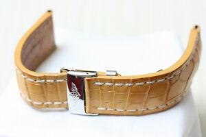 Breitling 20-18 Tan Crocodile Leather Deployant Buckle Straps