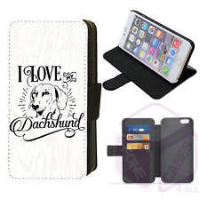 I Love My Dachshund Wallet Flip Phone Case Cover iPhone 4/5/6/7/8/X/XS/XR Galaxy