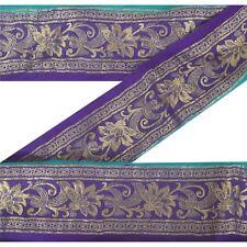Sanskriti Vintage Blue Sari Border Woven Brocade Craft Trim Sewing Decor Lace