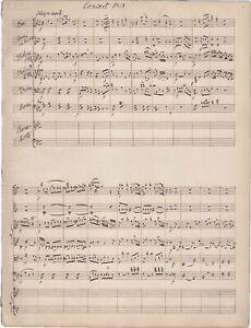 MOZART W.A. Manoscritto Musica PIANO CONCERTO K 238 Partitura XIX sec.