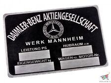 DAIMLER-BENZ Aktiengesellschaft Mercedes Benz Typenschild 8,5/6 Wehrmacht, Kopie