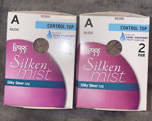 4 PAIR Leggs Silken Mist Size A Silky Sheer Leg Pantyhose Control Top Nude