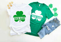 Personalised Name Shamrock  T-Shirt, St Patricks Day Irish Party Gift Adults Top