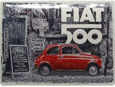 Fiat 500 Red In Street large embossed metal sign 400mm x 300mm (na)