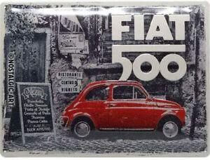 Fiat 500 Rouge En Rue Grand en Relief Métal Signe 400mm x 300mm (Pas Applicable)
