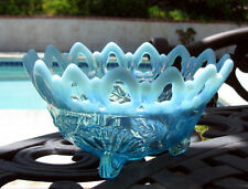 1906 Northwood Blue SHELL AND WILD ROSE Victorian Opalescent Nut Dish Bowl