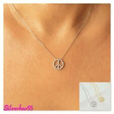 925 Sterling Peace Sign Necklace Gold Plated Cz Crystals Women Jewelry