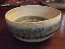 Vintage Handmade Pottery Bowl Owls Signed by Artist