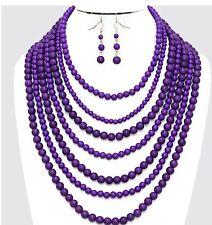 Chunky Long Purple Pearl Multi Layered Bib Bead Statement Necklace Earring Set
