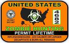 """Zombie Hunting Permit Warning Decal Sticker Funny 3"""" x 5"""""""