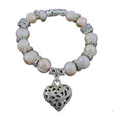 Genuine Freshwater Cultured Pearl Charm Bracelet Baroque Stretch Bangle Heart