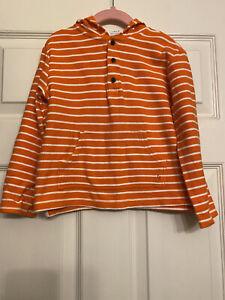 Janie and Jack Boys Orange White Striped Pullover Hoodie 5