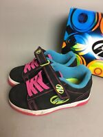 Heelys Dual Up X2  Skate Shoes Girls Black & Pink Blue Neon Size 13 with Box