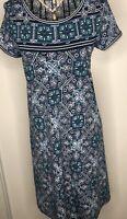 BNWT MAX STUDIO Blue Art Deco Floral Tunic Dress Small 8 10 $98