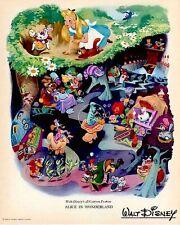 Disney Alice In Wonderland 1951 Litho Promo RKO Radio Pictures Date Stamped VTG