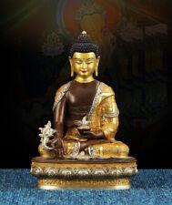 8'' Nepal tibet bronze silver gold buddhism Sakyamuni tathagata Amitabha buddha