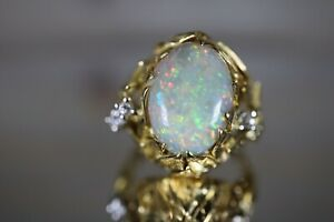 18k Yellow Gold Ring Large Colourful Opal With Diamonds Size I