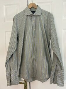 """Gieves & Hawkes Shirt 16.5"""" 42cm Blue with Yellow Stripe Dress Shirt Double Cuff"""