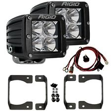 RIGID Fog Light Kit w/ Pair D-Series PRO LED Lights for 18-20 Jeep Wrangler JL