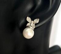 Damen Perlen Ohrstecker Ohrringe Schmetterlinge Zirkonia 750er Weißgold 18K
