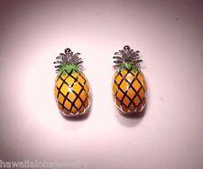 8mm Hawaiian Rhodium On STER Silver 2/3rd Shell Enameled Pineapple Stud Earrings