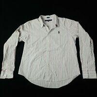 Ralph Lauren Sport Blouse Shirt Womens UK 14 Striped Button Up Long Sleeve