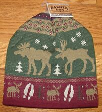Rustic Up North Cabin Tan Green Burgandy Moose Knit Beanie Cap Hat Free Shipping