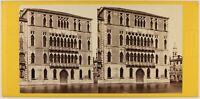 Italia Venezia Palais Foscari Foto Carlo Ponti Stereo c1865 Vintage Albumina