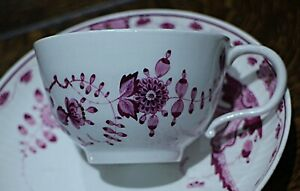 Meissen Marcolini Period Purple Indian Pattern Cup and Saucer C. 1774-1817