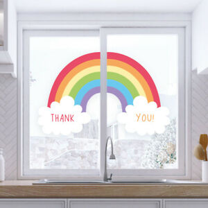 Rainbow Sticker For Windows Or Walls - Thank You NHS - Saving Lives